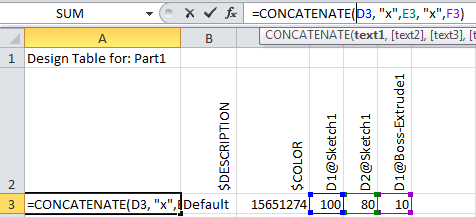 Use Design Table to Assign Configuration name