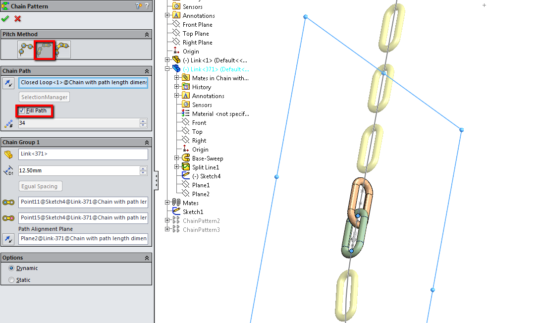 Close Loop Chain Using Path Length Dimension In Solidworks