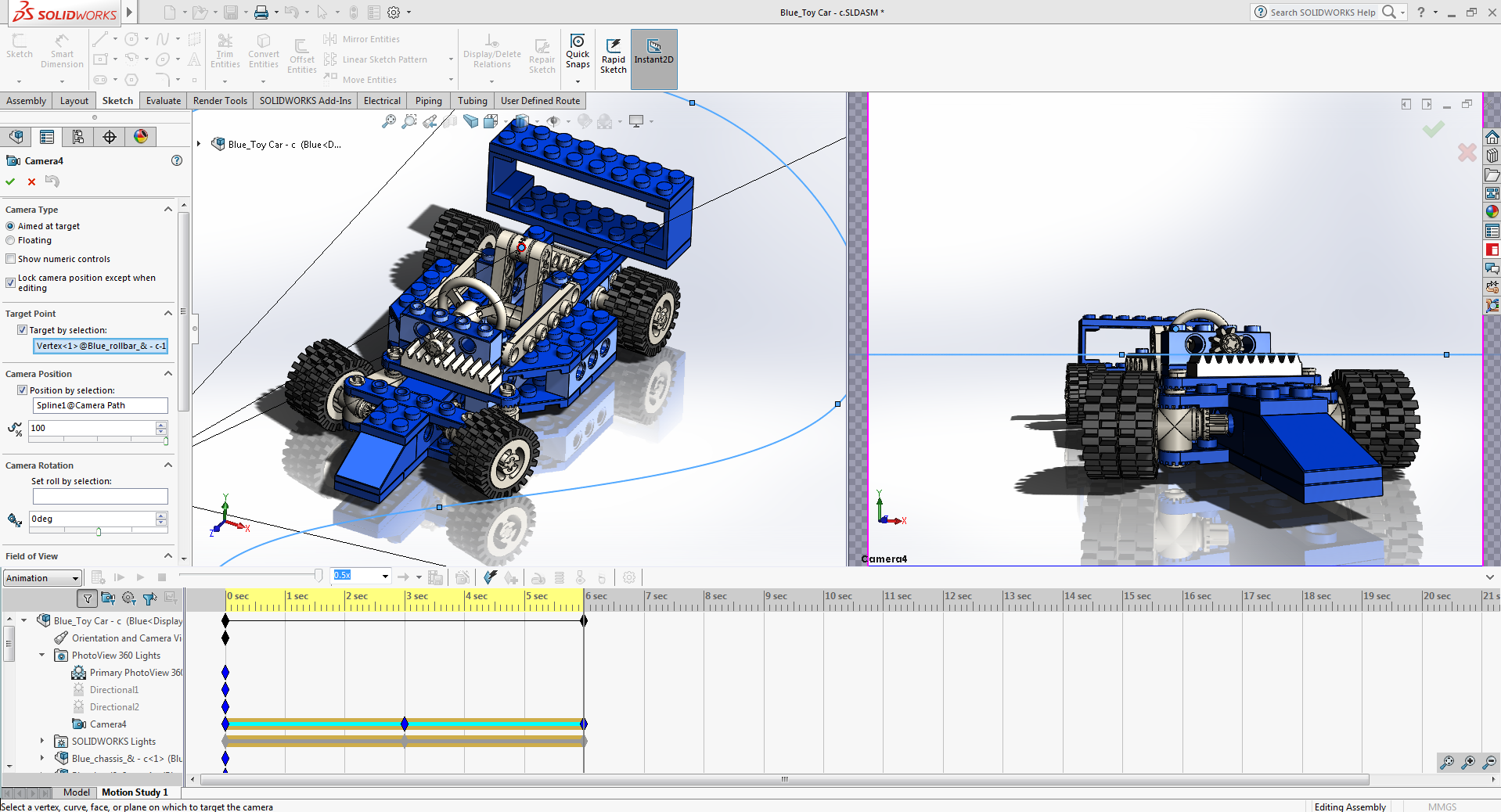 Adding a Camera and Camera view in SOLIDWORKS Animation