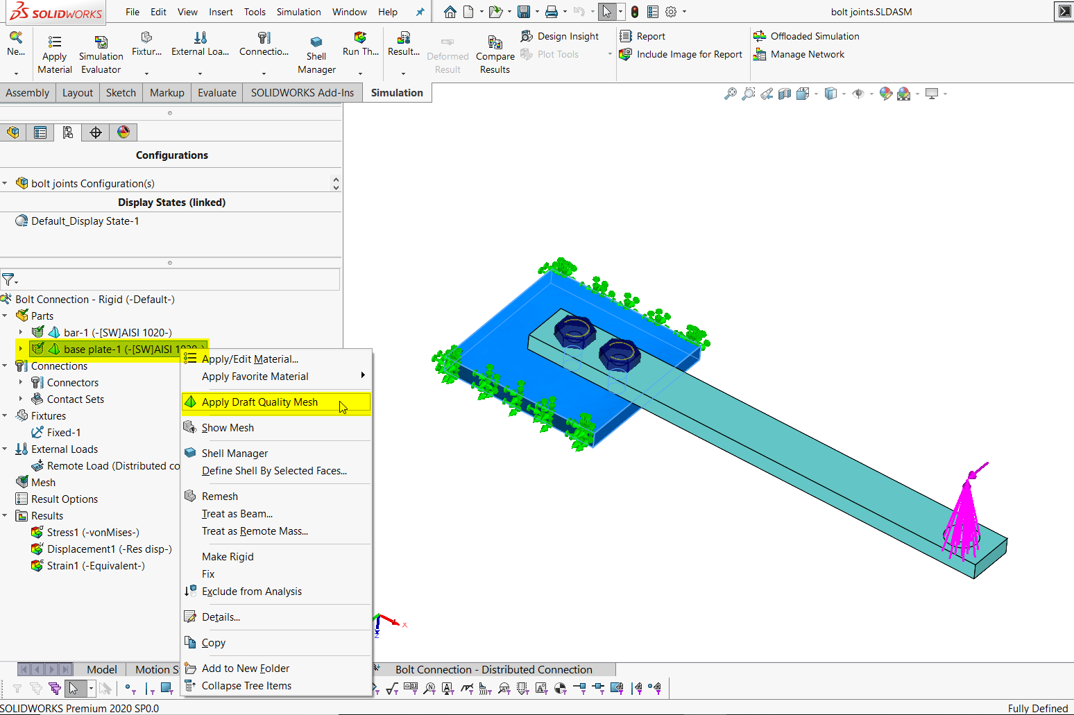 Solidworks simulation 2020 new feature – mixed draft and high quality elements