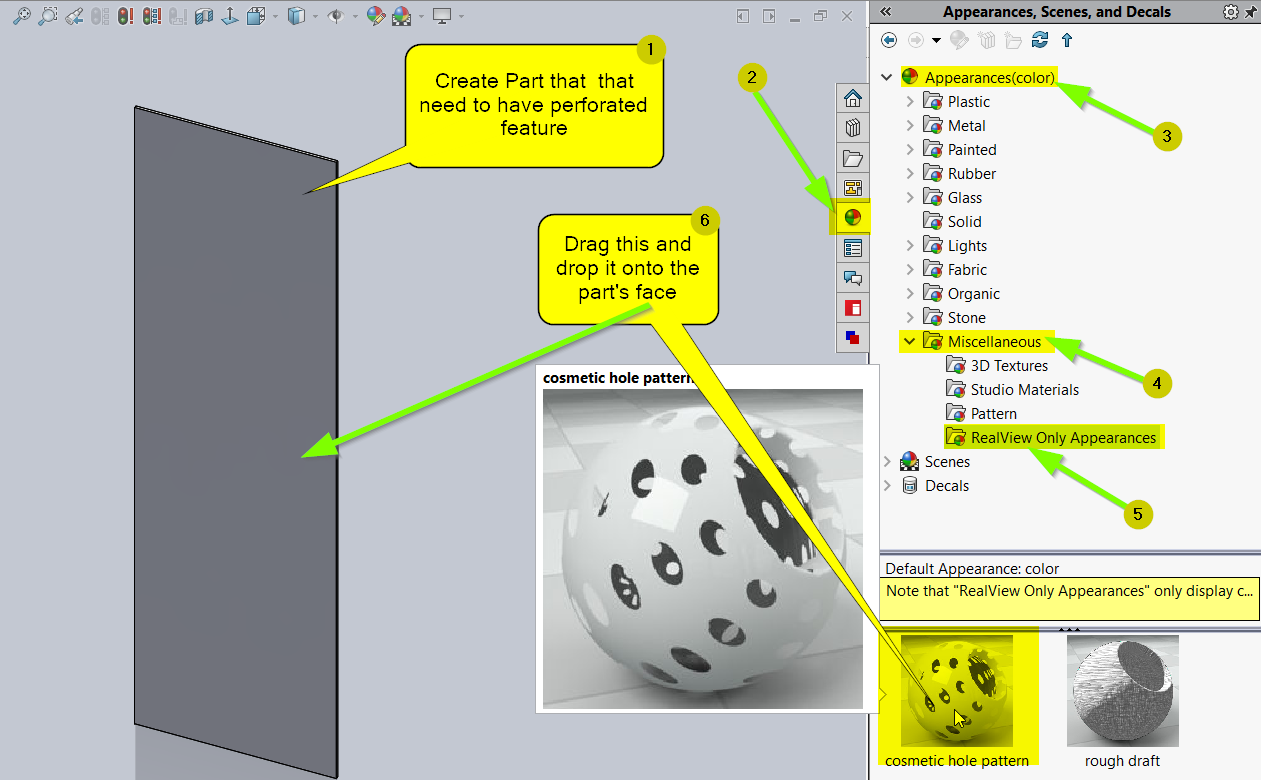 How to create perforated holes using cosmetic hole pattern