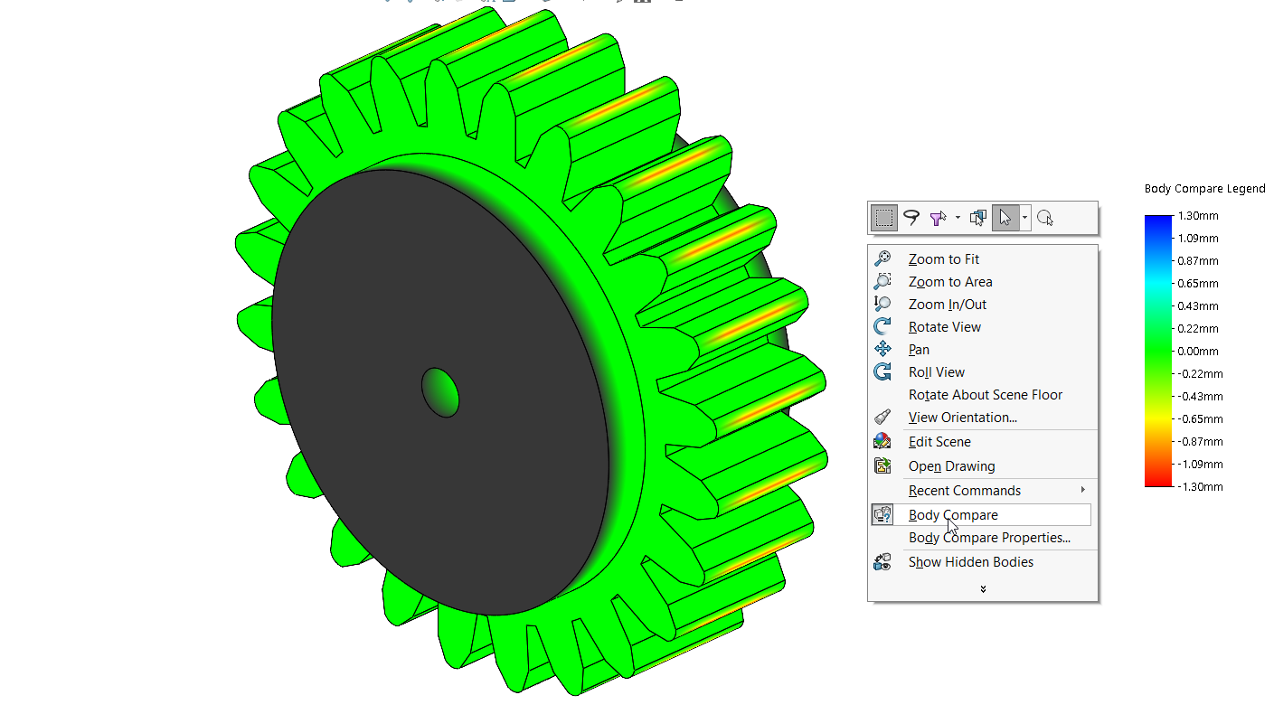 Solidworks 2020 new features – compare bodies